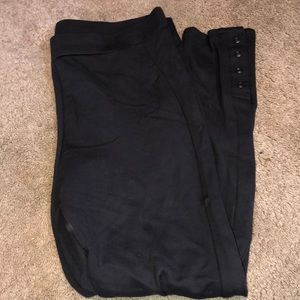 NWOT Women's Dark Gray Thick Leggings with Buttons